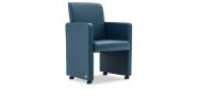 SOLO - Sessel mit Rollen in Leder Prescott blau