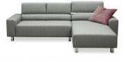 STRATOS - 2 Platz Sofa mit Longchair in hellgrauem Stoff