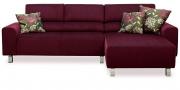 STRATOS - 2 Platz Sofa mit Longchair in violettem Stoff