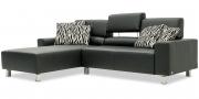 STRATOS - 2 Platz Sofa mit Longchair in Sonderlänge in Leder Jumbo schwarz mit Effeknaht