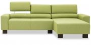 STRATOS - 2 Platz Sofa mit Longchair in grünem Stoff