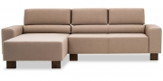 STRATOS - 2 Platz Sofa mit Longchair in beigem Stoff