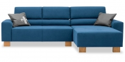 STRATOS - 2 Platz Sofa mit Longchair in blauem Stoff