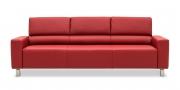 STRATOS - 3 Platz Sofa in Leder Classic kaminrot