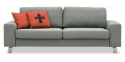 TERRA - 2,5 Platz Sofa in grau meliertem Stoff