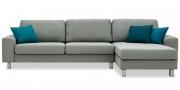 TERRA - 2,5 Platz Sofa mit Longchair in grau meliertem Stoff mit blauen Dekokissen
