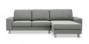 TERRA - 2 Platz Sofa mit Longchair in grau meliertem Stoff
