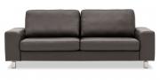 TERRA - 2,5 Platz Sofa in Leder Jumbo braun mit Effektnaht