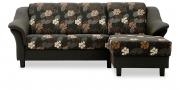 TURIN - 2 Platz Sofa mit Longchair in Stoff anthrazit mit floralem Muster
