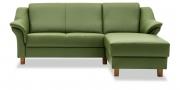 TURIN - 2 Platz Korpus mit Longchair in Sonderlänge in grünem Leder Select