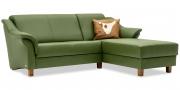 TURIN - 2 Platz Korpus mit Longchair in Sonderlänge in Leder Select grün