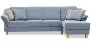 TURIN - 3 Platz Sofa mit Longchair im Stoff Höpke Epoque Auvergne hellblau