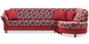 TURIN - Ecksofa aus einer roten Stoffkombination von Höpke in floralem Muster