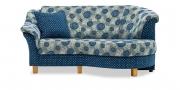 TURIN - Rhombus 2 Platz in blau-floralem Muster und passendem Dekokissen