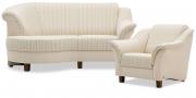TURIN - Sofa und Sessel in Stoffkombi beige mit Streifen
