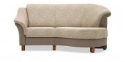 TURIN - 2 Platz Sofa mit Rhombus in Stoffkombi Floralmuster hellbeige und Rauten braunbeige