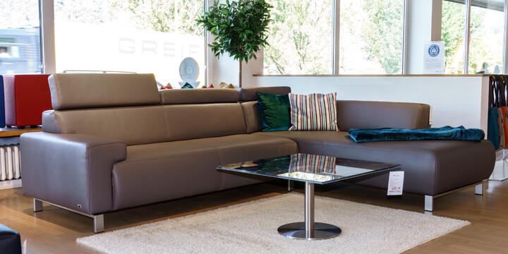 reduziertes Ausstellungsstück Sofa Signum in Leder Club slate