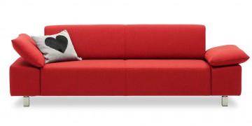 VENTANA - 2,5 Platz Sofa in rotem Stoff mit Zierkissen