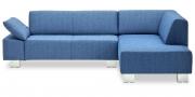VENTANA - 2 Platz Sofa mit Longchair in blauem Stoff
