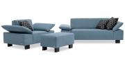 VENTANA - Sofagarnitur mit Hockerbank im grau blauen Stoff mit passenden Dekokissen