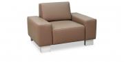 VENTO - Sessel in grau-beigem Leder