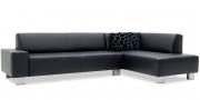 VENTO - 2,5 Platz Sofa mit Anbausofa in Leder Jumbo nachtblau