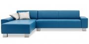 VENTO - Sofa mit Longchair in Sonderlänge in blauen Leder Prescott pacific
