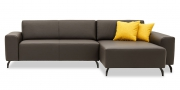VENTO - 2 Platz Sofa und Longchair mit Armlehne Futura in dunkelbraunen Leder Dolomiti Brazil