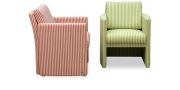VISTA - Sessel im Streifen rose-natur und hellgrün-natur