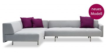 WAVE - neues Modell Ecksofa in grauem Stoff