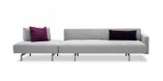 WAVE - 3 Platz Sofa mit Hocker und mobilen Rücken in Stoff grau
