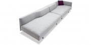 WAVE - 2x 3 Platz Sofa mit Steckrücken und Armlehne in grauem Stoff mit Zierkissen