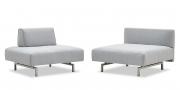 WAVE - Sessel mit mobilen Rücken und Steckrücken in Stoff grau