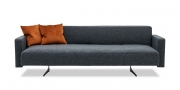 WAVE - 3 Platz Sofa mit einer Armlehne in Stoff dunkelgrau mit Zierkissen bronze
