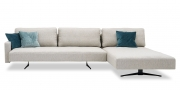 WAVE - 3 Platz Sofa mit Longchair in hellgrauen Stoff