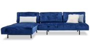 WAVE - 3 Platz Sofa mit Longchair in blauen Velours in ausbrenner Optik