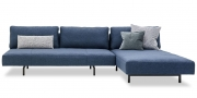 WAVE - 3 Platz Sofa mit Longchair und losen Rückenkissen in Stoff Fine Prima blau