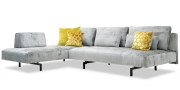 WAVE - 3 Platz Sofa mit Longchair in Velours Stoff Siatex Aurum Levante hellgrau