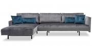 WAVE - 3 Platz Sofa mit Longchair und Armlehnen in Stoff Siatex Levante dunkelgrau