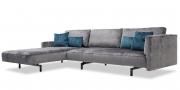 WAVE - 3 Platz Sofa mit Longchair in Stoff Siatex Levante dunkelgrau mit passenden Kissen