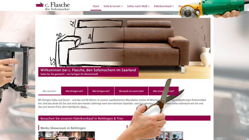 Ansichtbild der neuen Website von c. Flasche