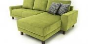 Couch Amica in grünem Samt mit dunkel gebeiztem Holzfuß