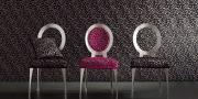 Stoffkollektion Mirage bezogene Stühle in schwarz und pinken Stoff