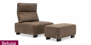 neues Modell Sessel und Hocker Beluga im braunen Leder