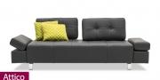 neues Modell Sofa Attico im schwarzen Leder