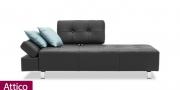 neues Modell Sofa Attico im schwarzen Leder mit einem Rücken