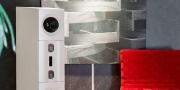Aktivlautsprecher mit Sofa Futura im roten Stoff