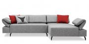 neues Modell Fugo als 2,5 Platz Sofa mit Longchair in Stoff grau
