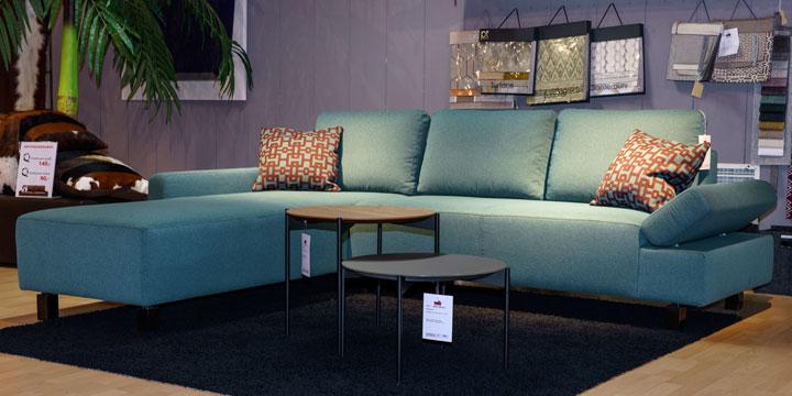 reduziertes Ausstellungsstück Sofa Indigo in Stoff Pure graublau