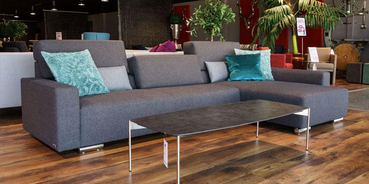 reduziertes Ausstellungststück Sofa Sirius in grauem Stoff